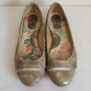 Born Metallic Distressed Look Ballet Flat